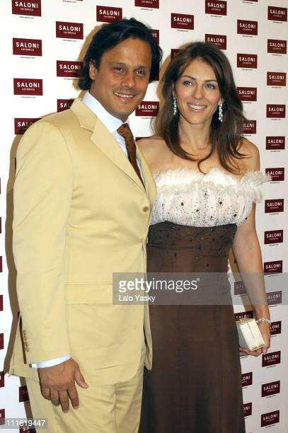 Arun Nayer and Elizabeth Hurley during Elizabeth Hurley Launches New Saloni Ceramics Collection at Real Fabrica de Tapices in Madrid Spain