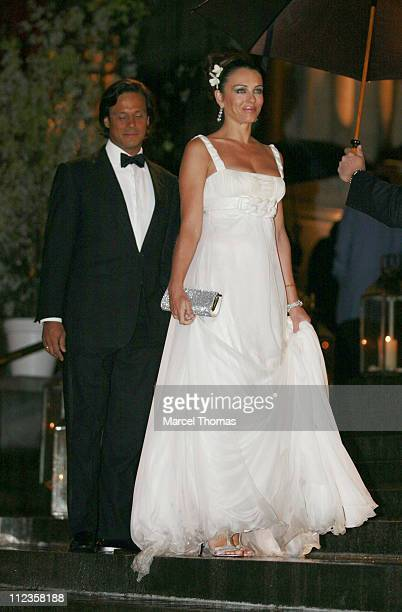 Arun Nayer and Elizabeth Hurley during Elton John's 60th Birthday Party at St John the Divine Church in New York City New York United States