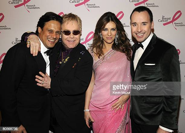 NEW YORK APRIL 08 Arun Nayer Sir Elton John actress Elizabeth Hurley and David Furnish in the green room at the Waldorf Astoria during The Breast...
