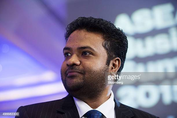 Arun Pudur president and chief executive officer at Celframe listens during a Bloomberg Television interview at the Bloomberg ASEAN Business Summit...