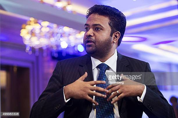 Arun Pudur president and chief executive officer at Celframe speaks during a Bloomberg Television interview at the Bloomberg ASEAN Business Summit in...