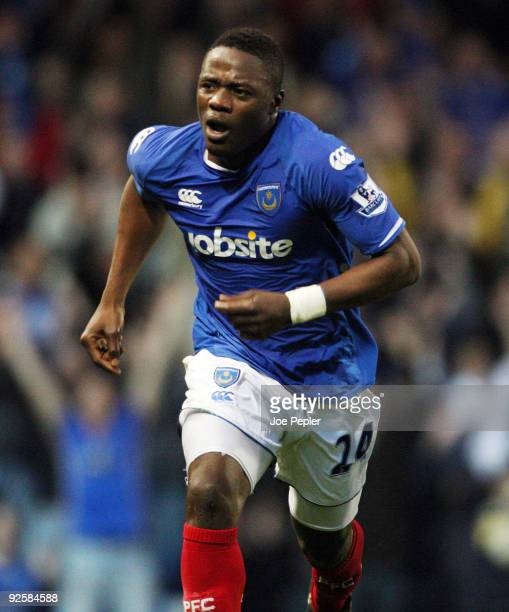 Aruna Dindane of Portsmouth celebrates scoring his hattrick during the Barclays Premier League match between Portsmouth and Wigan Athletic at Fratton...