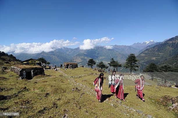Arunachali tribal women visit bunkers from the IndoChina war at a war memorial in Jaswant Garh in Arunachal Pradesh near the IndoChina border on...