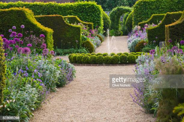 Arundel Castle Gardens, West Sussex: Asthal Manor, Oxfordshire: Path to Fountain with Box Balls and