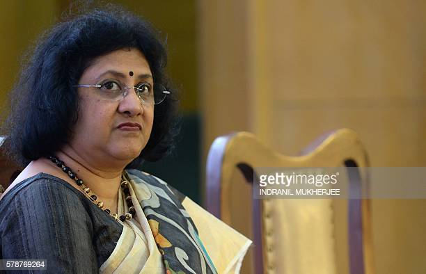 Arundhati Bhattacharya Chairperson of the State Bank of India Arundhati Bhattacharya listens during a press conference to launch the bank's new...