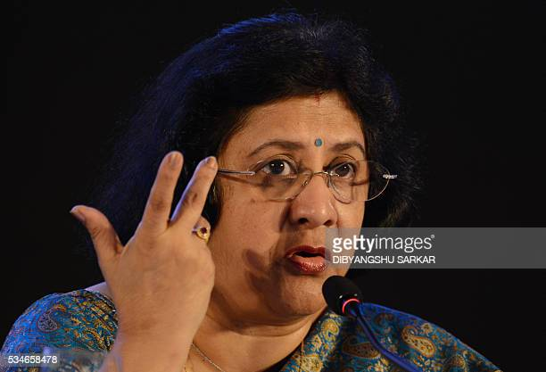Arundhati Bhattacharya the chairman of the State Bank of India the largest public sector bank in India attends a press conference on the bank's...
