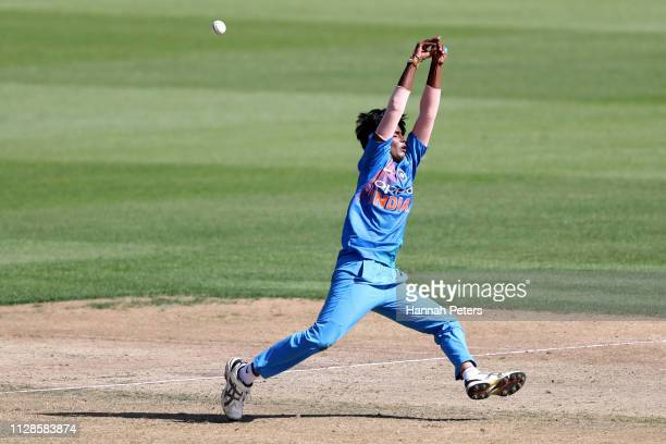 Arundhati Reddy of India fields during the Women's International T20 Game 3 between New Zealand and India at Seddon Park on February 10 2019 in...
