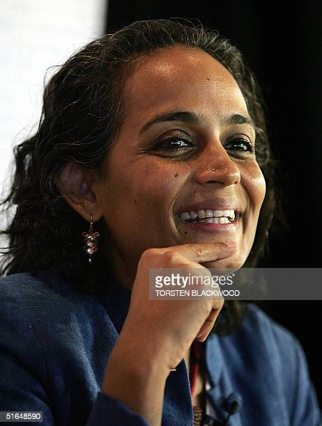 Arundhati Roy the awardwinning Indian novelist and human rights campaigner responds at a press conference to the controversy surrounding her winning...