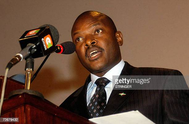 Burundian President Pierre Nkurunziza addresses the 8th summit of the East African community after his country Burundi and Rwanda were incorporated...