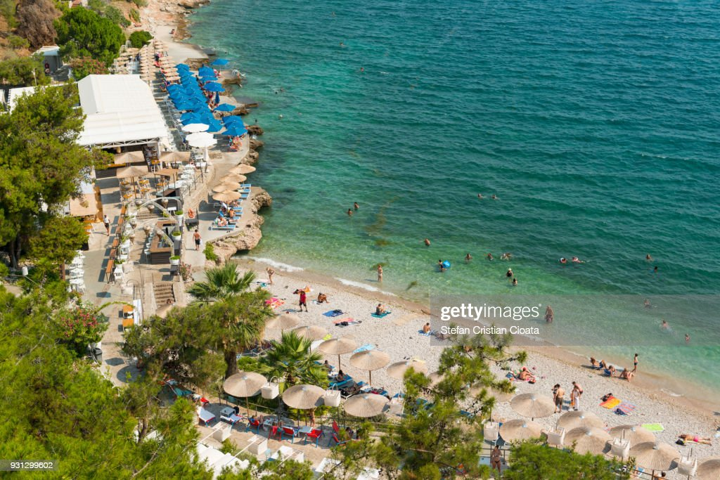 Arvanitia beach in Nafplio town, Peloponnese, Greece, Europe : Stock Photo