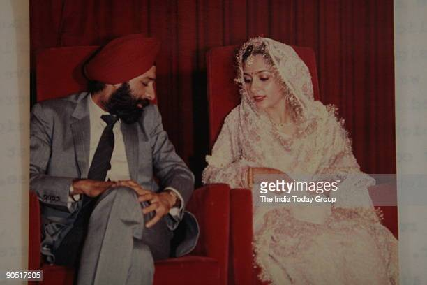 Arveen Rana daughter of Narinder Singh Arora with her husband in a picture who was allegedly killed by her in laws in their New Friends Colony house...