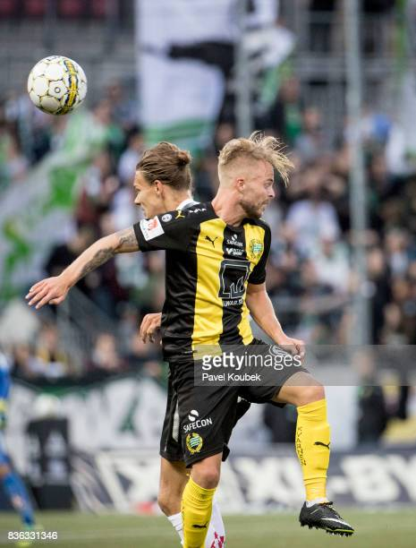 Arvid Brorsson of Orebro SK Sander Svendsen of Hammarby IF during the Allsvenskan match between Orebro SK and Hammarby IF at Behrn Arena on August 21...