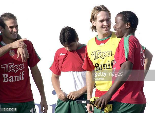 Arvid Smit and Collins Mbesuma during Smit's first training session with new team Maritimo January 15 2007