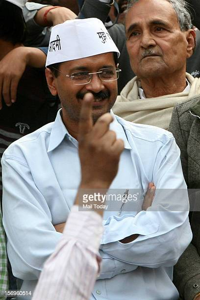 Arvind Kejriwal during his Aam Admi Party rally at Rajghat in New Delhi on Sunday