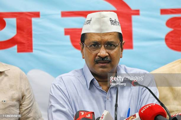 Arvind Kejriwal, leader of the Aam Aadmi Party and chief minister of Delhi, speaking during an event marking the release of the AAP manifesto at the...