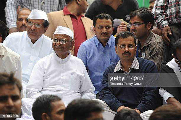 Arvind Kejriwal with Anna Hazare Social Worker during protest against BJPs Land Bill at Jantar Mantar New Delhi