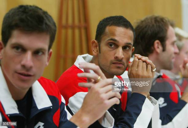 Arvind Parmar and Tim Henman of Great Britain look on during a Davis Cup team press conference befor the Quarterfinal tie between Luxembourg and...