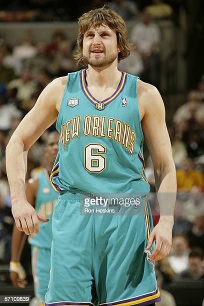 Arvydas Macijauskas of the New Orleans/Oklahoma Hornets is on the court during the game against the Indiana Pacers on February 21, 2006 at Conseco...
