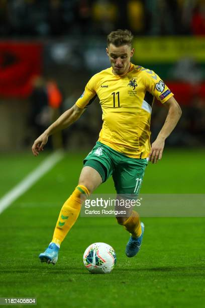 Arvydas Novikovas of Lithuania during the UEFA Euro 2020 Qualifier between Portugal and Lithuania on November 14, 2019 in Faro, Portugal.