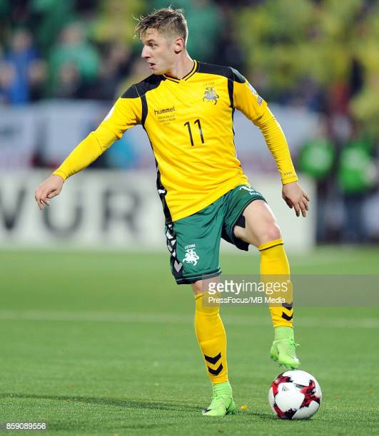 Arvydas Novikovas of Lithuania in action during the FIFA 2018 World Cup qualifier between Lithuania and England on October 8 2017 in Vilnius Lithuania
