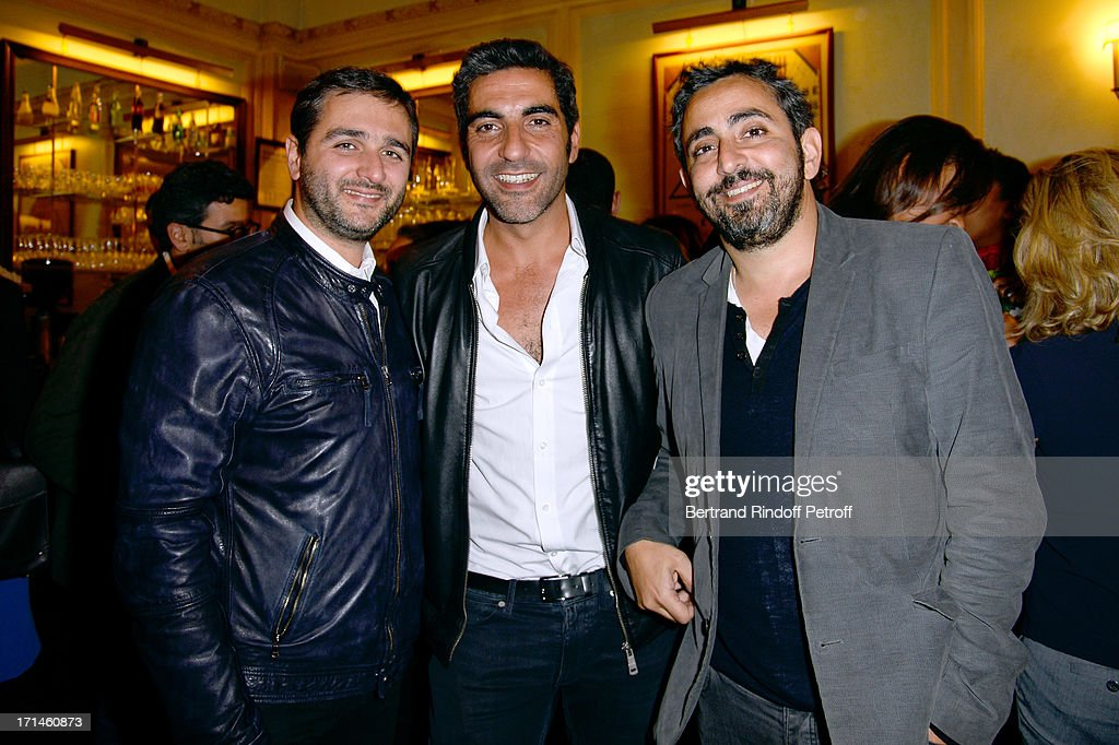 Ary Abittan (C) and directors Eric Toledano (L) and Olivier Nakache attend the Ary Abittan performance at Theater Edouard VII benefiting 'Un Coeur Pour La Paix' on June 24, 2013 in Paris, France.