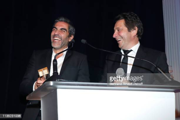 Ary Abittan Gold Stethos category Actor and Laurent Gerra attend the Stethos d'Or 2019 Charity Gala of the Foundation for Physiological Research at...
