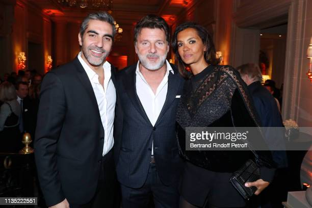 Ary Abittan Philippe Lellouche and Karine Le Marchand attend the Stethos d'Or 2019 Charity Gala of the Foundation for Physiological Research at on...