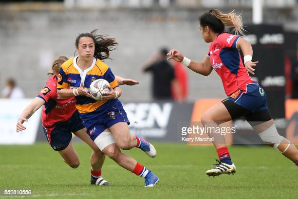 Aryahn Clarke of Bay of Plenty is tackled during the round four Farah Palmer Cup match between Bay of Plenty and Tasman at Tauranga Domain on...