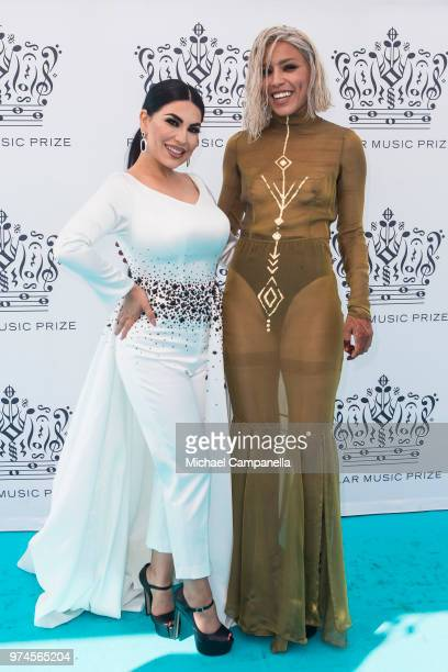 Aryana Sayeed and Loreen attends the 2018 Polar Music Prize award ceremony at the Grand Hotel on June 14 2018 in Stockholm Sweden