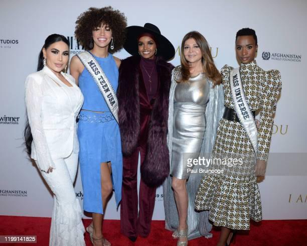 Aryana Sayeed Kaliegh Garris Halima Aden Sonia Nassery Cole and Zozibini Tunzi attend New York Premiere Of I Am You at Pier 59 Studios on February 6...