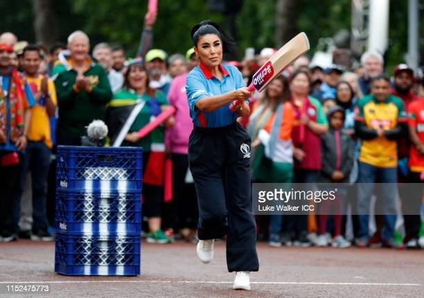 Aryana Sayeed of Afghanistan bats during the ICC Cricket World Cup 2019 Opening Party at The Mall on May 29 2019 in London England