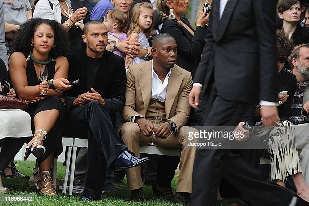 Aryn Drake-Lee, Jesse Williams and Dizzee Rascal attend the Roberto Cavalli fashion show as part of Milan Fashion Week Menswear Spring/Summer 2012 on...