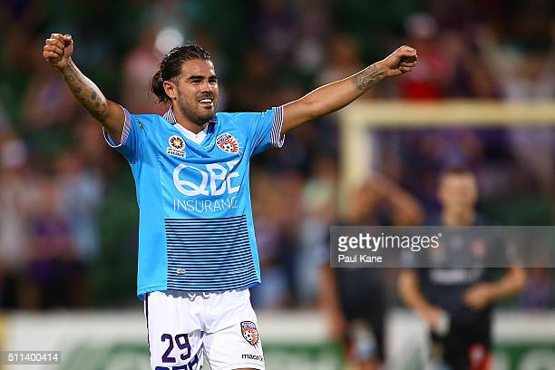 Aryn Williams of the Glory celebrates after the final whistle during the round 20 ALeague match between the Perth Glory and Brisbane Roar at nib...