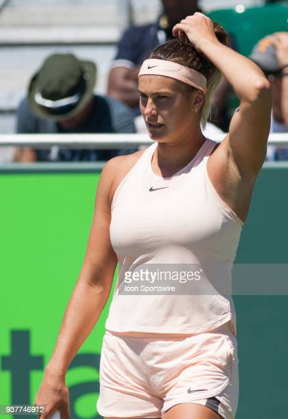 Aryna Sabalenka in action on Day 5 of the Miami Open Presented at Crandon Park Tennis Center on March 23 in Key Biscayne FL