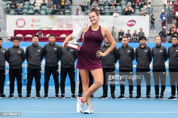 Aryna Sabalenka of Belarus attends the award ceremony after the women's singles final match against Alison Riske of America on day 7 of the 2019 WTA...