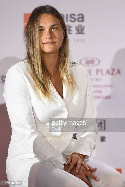 Aryna Sabalenka of Belarus attends the player party during 2019 WTA Shenzhen Open at Zhu Jiang Crowne Plaza Hotel on December 31 2018 in Shenzhen...