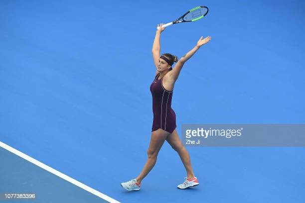 Aryna Sabalenka of Belarus celebrates after defeating Alison Riske of The United States during the women's singles final match on main draw day 7 of...