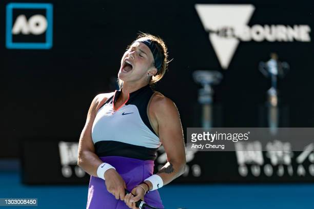 Aryna Sabalenka of Belarus celebrates after winning her Women's Doubles Final match against Barbora Krejcikova of the Czech Republic and Katerina...