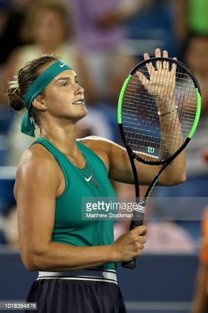 Aryna Sabalenka of Belarus celebrates her win over Madison Keys during the Western Southern Open at Lindner Family Tennis Center on August 17 2018 in...