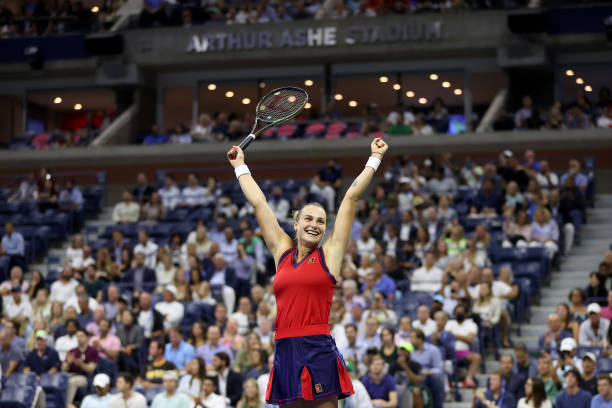 Aryna Sabalenka of Belarus celebrates match point against Barbora Krejcikova of Czech Republic during her Women's Singles quarterfinals match on Day...