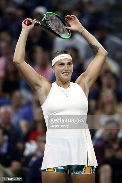 Aryna Sabalenka of Belarus celebrates victory during her women's singles third round match against Petra Kvitova of Czech Republic on Day Six of the...