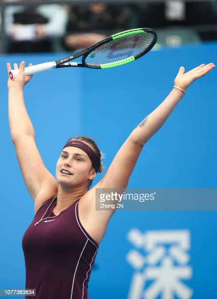 Aryna Sabalenka of Belarus celebrates winning against Alison Riske of United States during final match on Day 7 of the 2019 WTA Shenzhen Open at...