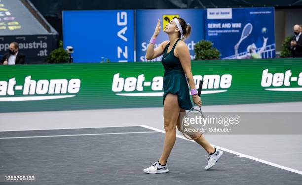 Aryna Sabalenka of Belarus celebrates winning during the finals of the Upper Austria Ladies Linz at TipsArena on November 15 2020 in Linz Austria