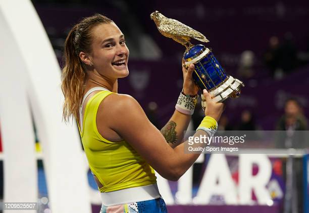 Aryna Sabalenka of Belarus celebrates with the trophy following the Women's Singles Final match against Petra Kvitova of Czech Republic of the WTA...