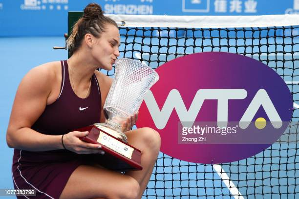 Aryna Sabalenka of Belarus celebrates with trophy after winning against Alison Riske of United States during final match on Day 7 of the 2019 WTA...