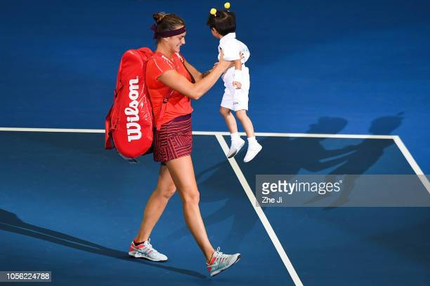 Aryna Sabalenka of Belarus enters the tennis court during their women's singles match on day 4 of the 2018 WTA Elite Trophy Zhuhai at Hengqin Tennis...