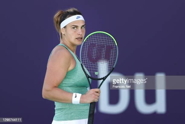 Aryna Sabalenka of Belarus in action against Elena Rybakina of Kazakhstan during her Women's Singles match on Day Six of the Abu Dhabi WTA Women's...