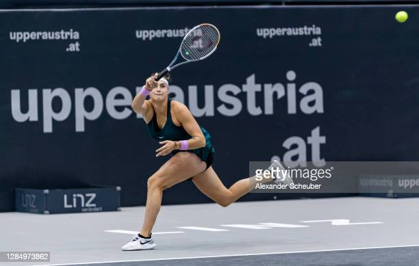 Aryna Sabalenka of Belarus in action during Day 2 of the Upper Austria Ladies Linz at TipsArena Linz on November 10, 2020 in Linz, Austria.