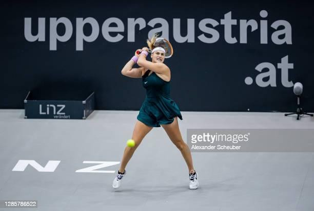 Aryna Sabalenka of Belarus in action during Day 6 of the Upper Austria Ladies Linz at TipsArena on November 14, 2020 in Linz, Austria.