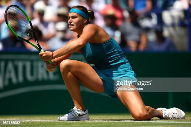 Aryna Sabalenka of Belarus in action during her womens singles semi final match against Agnieszka Radwankska of Poland during Day Eight of the Nature...